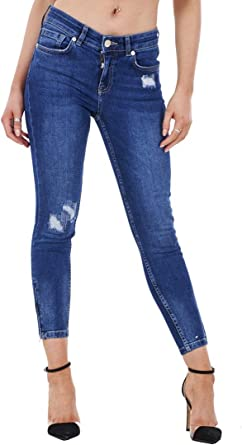 New Womens Dark Blue Ripped Distressed Frayed Slim Jeans Cropped Short Leg