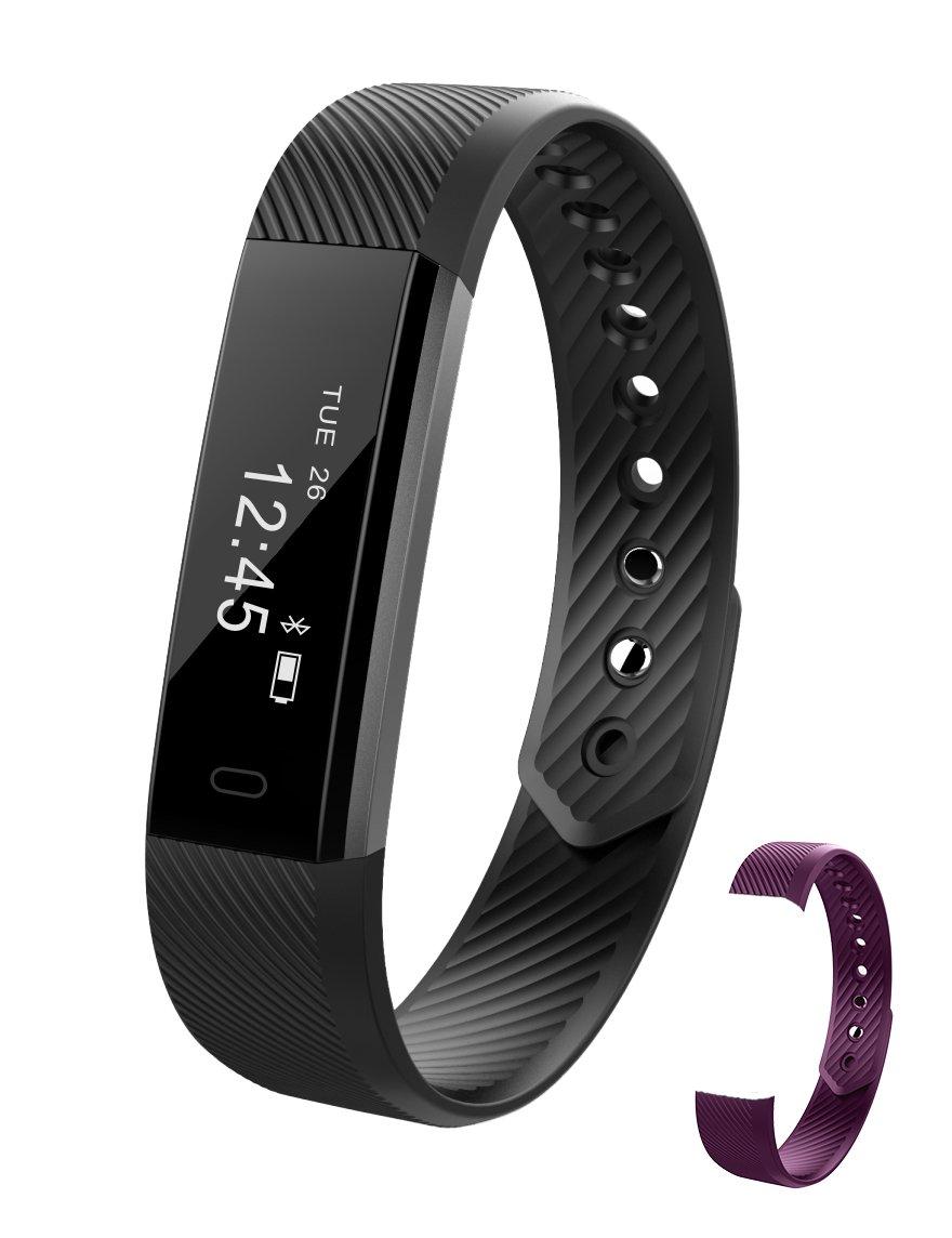 Chitu Fitness Trackerスマートブレスレットid115 BluetoothコールRemindタッチ画面スマートウォッチActivity Tracker Calorie Counterワイヤレス歩数計スリープ監視SweatproofスポーツバンドAndroid IOSの電話  Black+Purple(band) B074DTRKKM