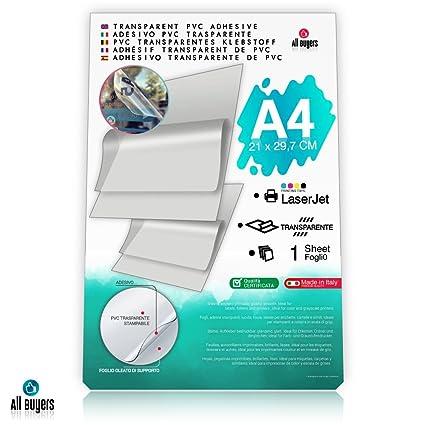 Hojas de papel adhesivo de vinilo A4 (21 x 29,7 cm), papel brillante de vinilo 5, 10, 15, 20, 25 para impresoras láser, transparentes