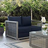 Modway EEI-2924-GRY-NAV Aura Outdoor Patio Wicker Rattan Gray, Loveseat, Navy Review