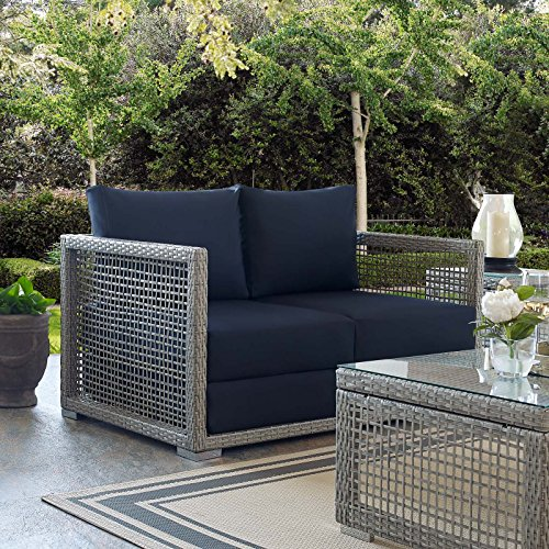 Modway EEI-2924-GRY-NAV Aura Outdoor Patio Wicker Rattan Gray, Loveseat, Navy