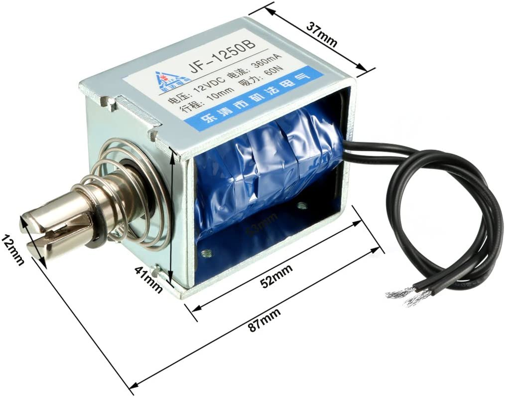 uxcell/® JF-S1670DL DC 12V 400mA 40N 10mm Pull Type Open Frame Linear Motion Solenoid Electromagnet
