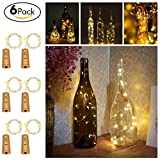 6 Pack Led Wine Bottle Cork Lights Copper Wire Starry Fairy Battery Operated String Lights Ideal for DIY Decor Outdoor BBQ Gathering Party Wedding Holiday Bedroom Parties Decora