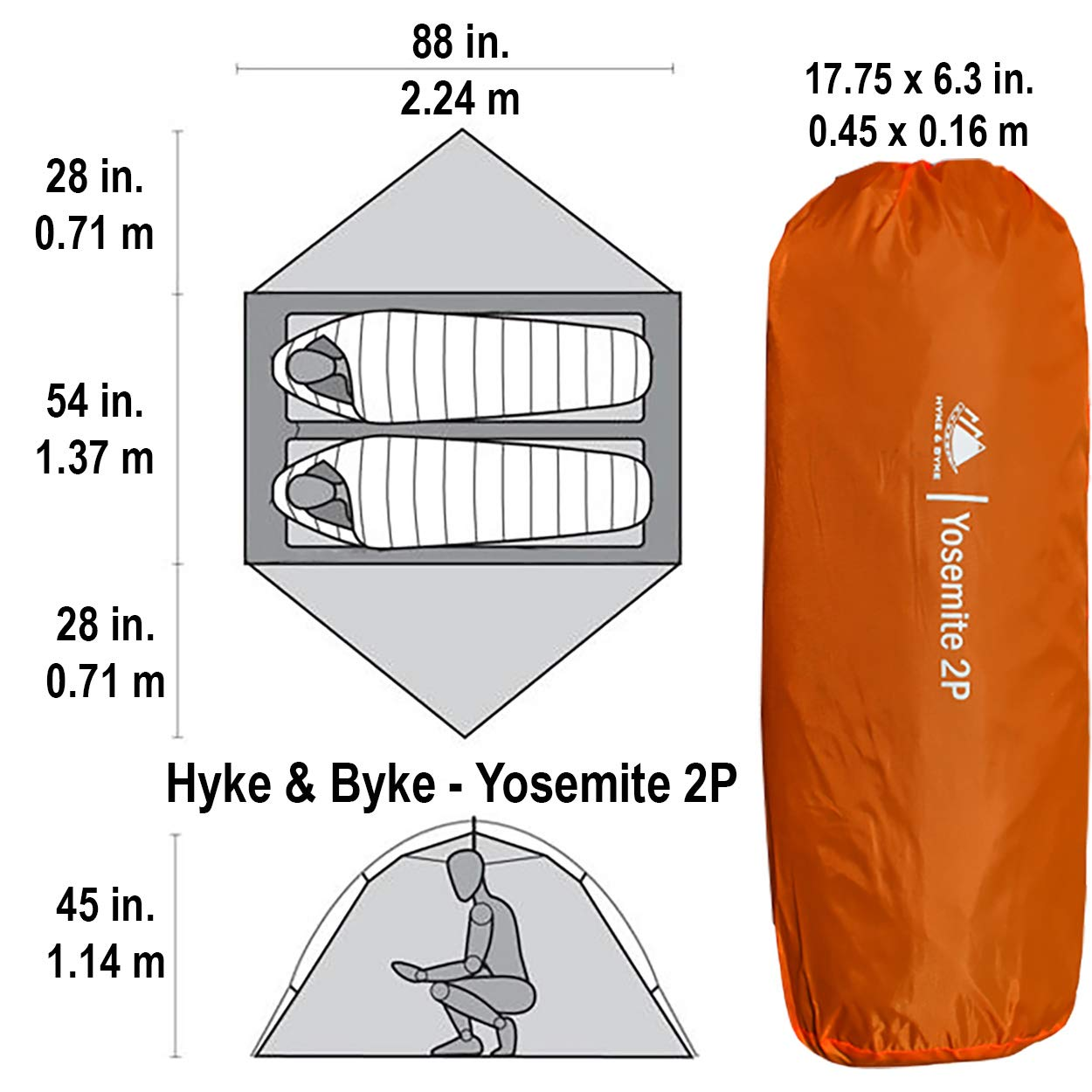 Hyke /& Byke Yosemite 1 and 2 Person Backpacking Tents with Footprint Lightweight Two Door Ultralight Dome Camping Tent