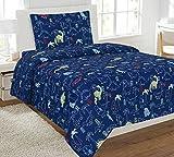 Fancy Linen Collection Twin Size 3 Pc Sheet Set Dinosaur Navy Blue # Dinosaur Navy