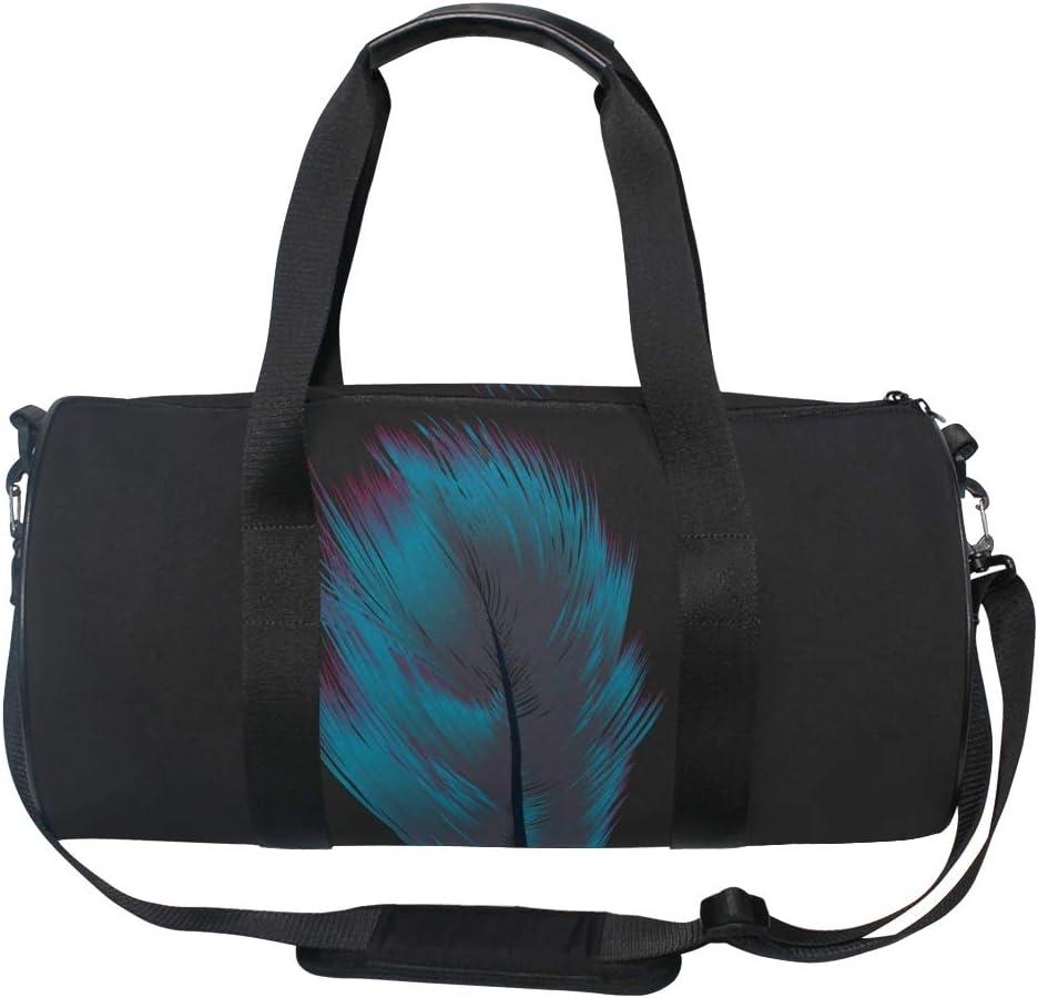 MALPLENA Blue Feather Drum gym duffel bag women Travel Bag