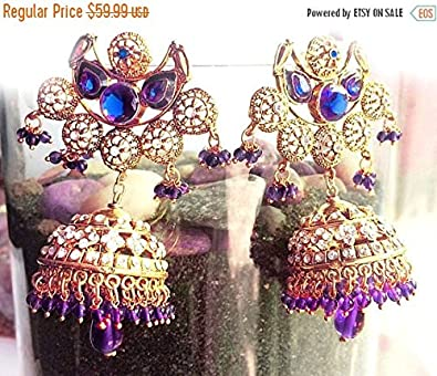 Amazon com: Navy Blue gold Earrings, Jhumkas, Holiday