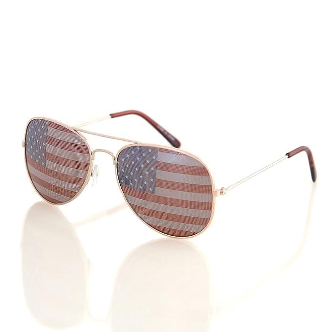 Amazon.com: Shaderz Aviator - Gafas de sol con bandera de ...