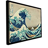 ArtWall Katsushika Hokusai 'The Great Wave Off Kanagawa' Floater framed Gallery Wrapped Canvas Artwork, 36 by 48-Inch