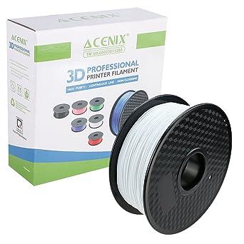 ACENIX® blanco Filamento de impresora 3D PLA, 1kg Filamento de carrete 1.75 mm Precisión dimensional +/- 0.03 mm 1KG [2.2 LBS] Filamento 3D de carrete ...