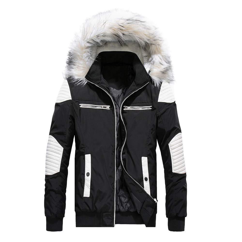 Mens Windbreaker,Men Camouflage Thickening Coat Pullover Outwear Windbreaker,Jacket PU Leather Men(XXL,Black) by Ennglun Mens Windbreaker Boys Coats For Men
