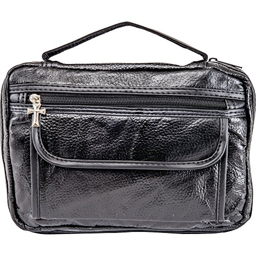 New Embassy Italian Stone Design Black Genuine Leather Bible Cover Zippered Main Compartment