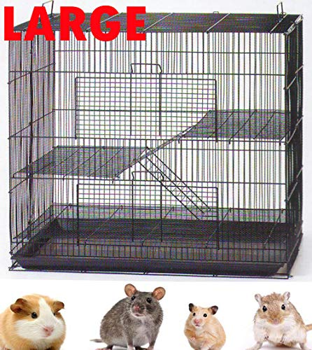 Mcage New 3 Levels Ferret Chinchilla Sugar Glider Rats Animal Cage with 1/2' Wire Cross Shelves and Ladders (30' L x 18' W x 24' H Black)