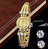 18k Gold Plated Women Bracelet Watch Quartz Wristwatch Oval Hypoallergenic Stud Earrings