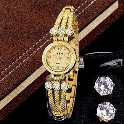 18k-gold-plated-women-bracelet-watch-quartz-wristwatch-oval-hypoallergenic-stud-earrings