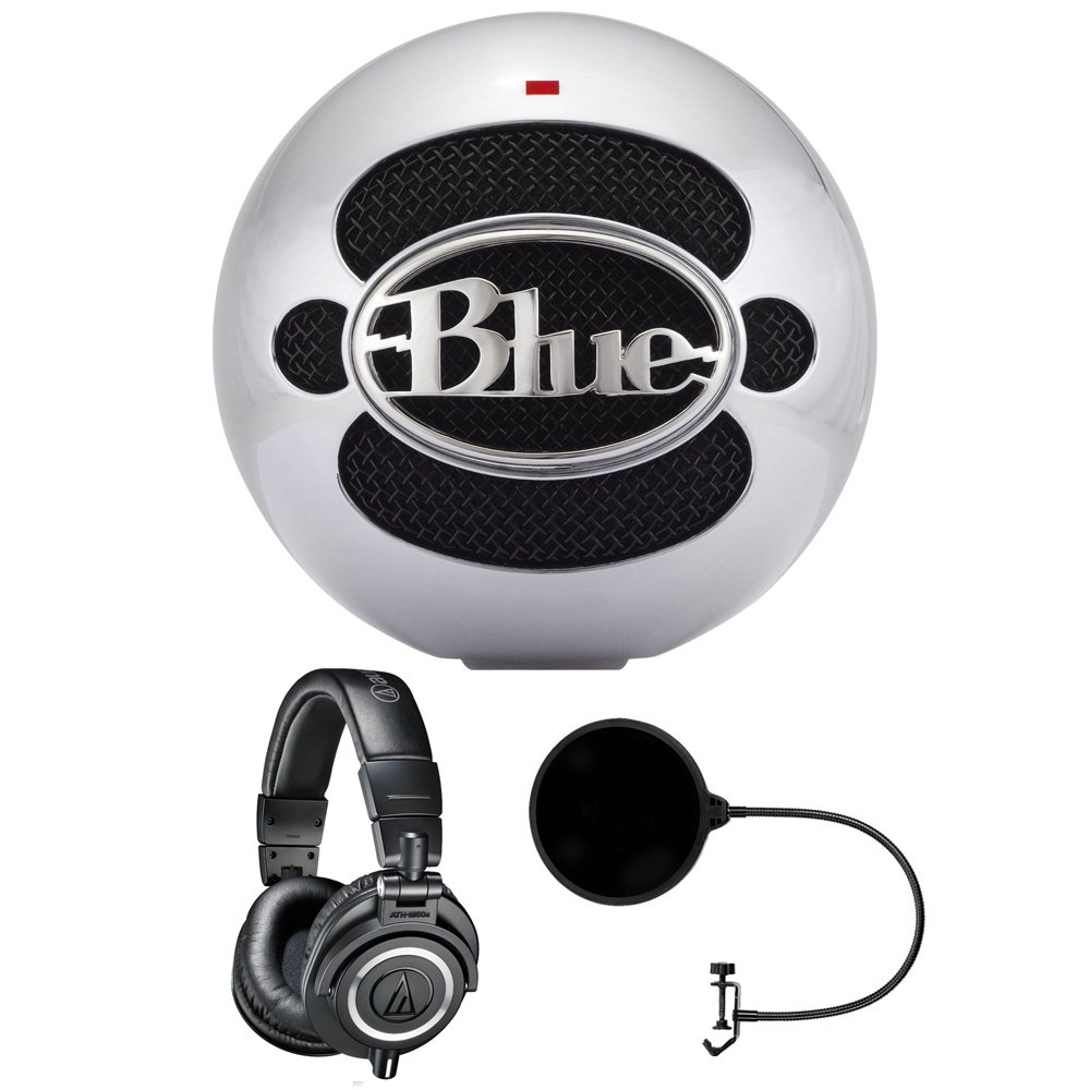 Blue Microphones Snowball USB Microphone - Aluminum (SNOWBALLALUMINUM) with Audio Technica ATH-M50x Studio Headphones & Pop Filter