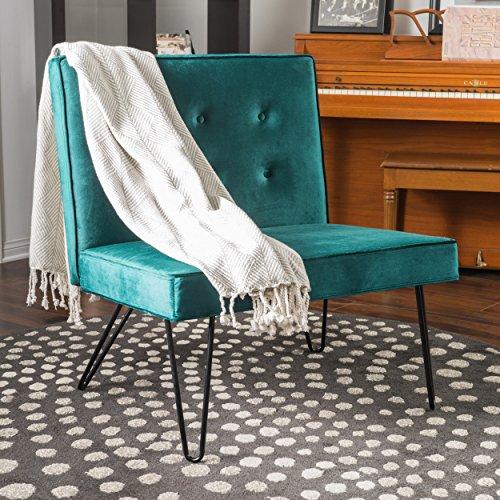 DuSoleil New Velvet Mid Century Modern Armless Hair Pin Leg Chair (Teal)