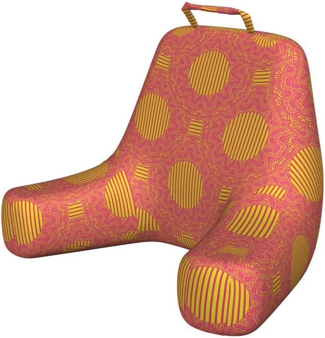 Ambesonne African Reading Pillow, Repetitive Traditional Modernized in Vibrant Tones Illustration, Bedrest Cushion with Back Pocket and Washable Cover, X-Large, Yellow Pink