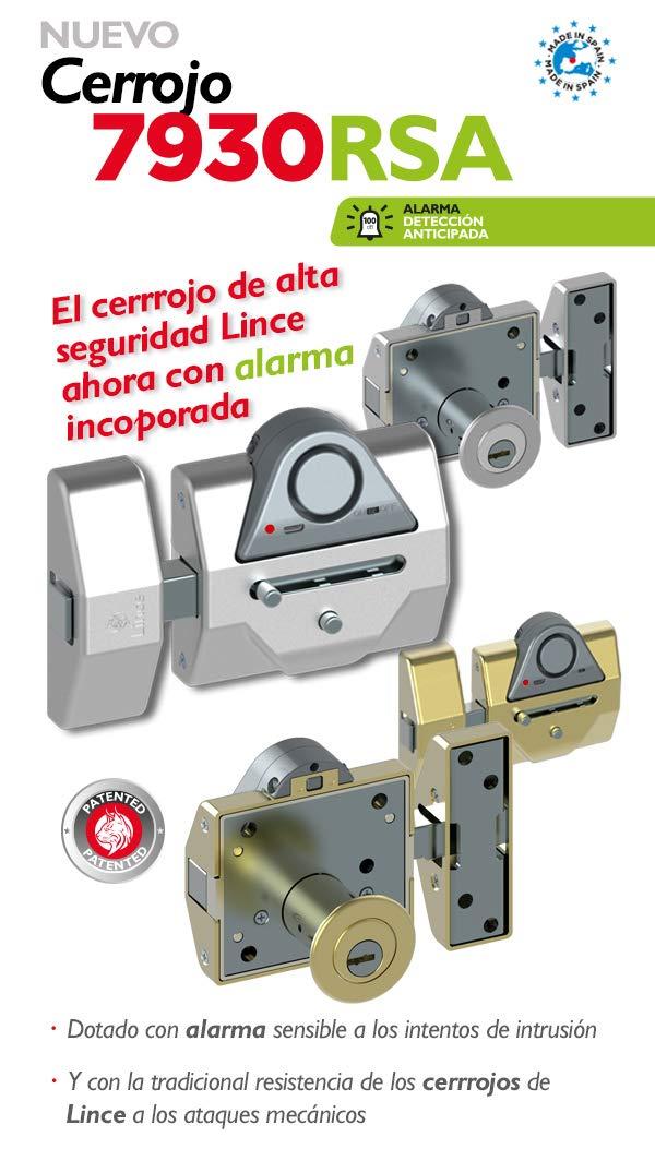 Dorado Lince Cerrojo Alta Seguridad 7930 RSA Alarma de 100dB-DORADO