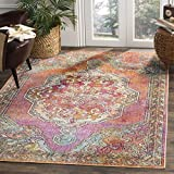 Safavieh Crystal Collection CRS502A Orange and Light Blue Bohemian Medallion Area Rug (3′ x 5′)