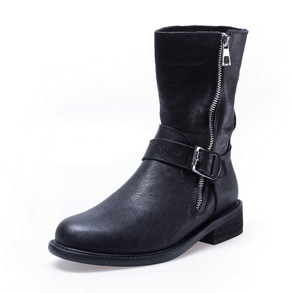 Black AnMengXinLing Fashion Combat Boot Women Stacked Low Heel Leather Buckle Strap Side Zipper Slouchy Casual Mid Calf Boot shoes