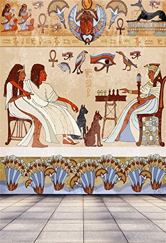 Laeacco 5x7ft Vinyl Backdrop Photography Background Egyptian Mural Color Wall Drawing Painting Ancient Culture Royal Theme Newborn Baby Kids Children Birthday Party Backdrop Photo Studio Prop ()