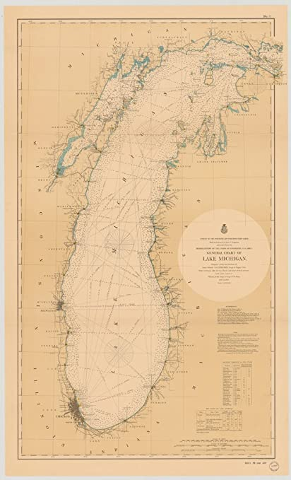 Us 12 Michigan Map.Amazon Com Vintography 8 X 12 Inch 1898 Us Old Nautical Map Drawing