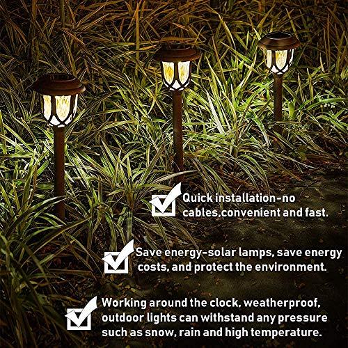 Molbory Solar Pathway Lights,6 Pack Solar Garden Lights Outdoor, Waterproof Solar Powered Garden Lights Landscape/Pathway Lights Solar Path Lights Outdoor Plastic & Glass for Landscape Patio Yard