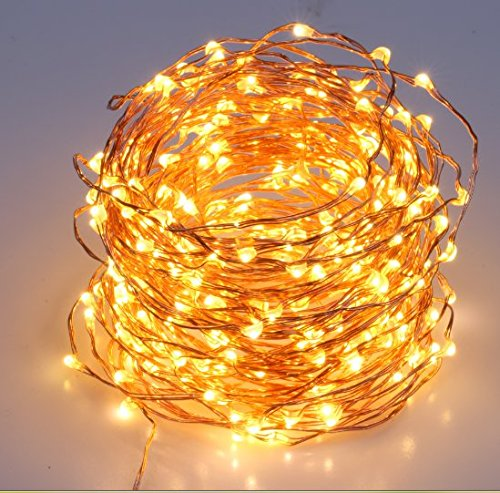 40 Feet Starry String Lights Warm White Color LED's on a Flexible Copper Wire - LED String Light with 120 Individually Mounted LED's-UL Adaptor Included by MineTom (Image #4)