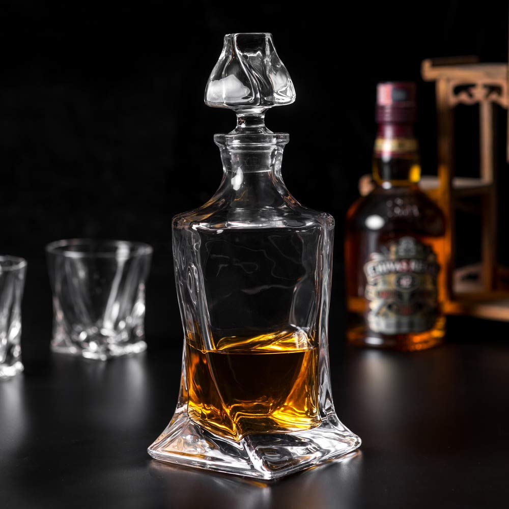 KANARS Twist Whiskey Decanter Set With 4 Glasses In Luxury Gift Box - Original Lead Free Crystal Liquor Decanter Set For Scotch or Bourbon, 5-Piece by KANARS (Image #7)