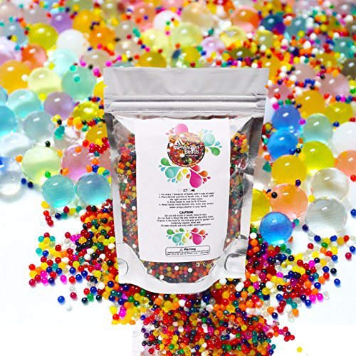 MiPremium Water Beads Pack Growing Rainbow Mixed Jelly Balls for Kids - Toddler Safe 16,000 Reusable & Non-ToxicSoft Gel Beads for Spa Refill, Sensory Toys, Pool, Plants Vases, Party Decoration