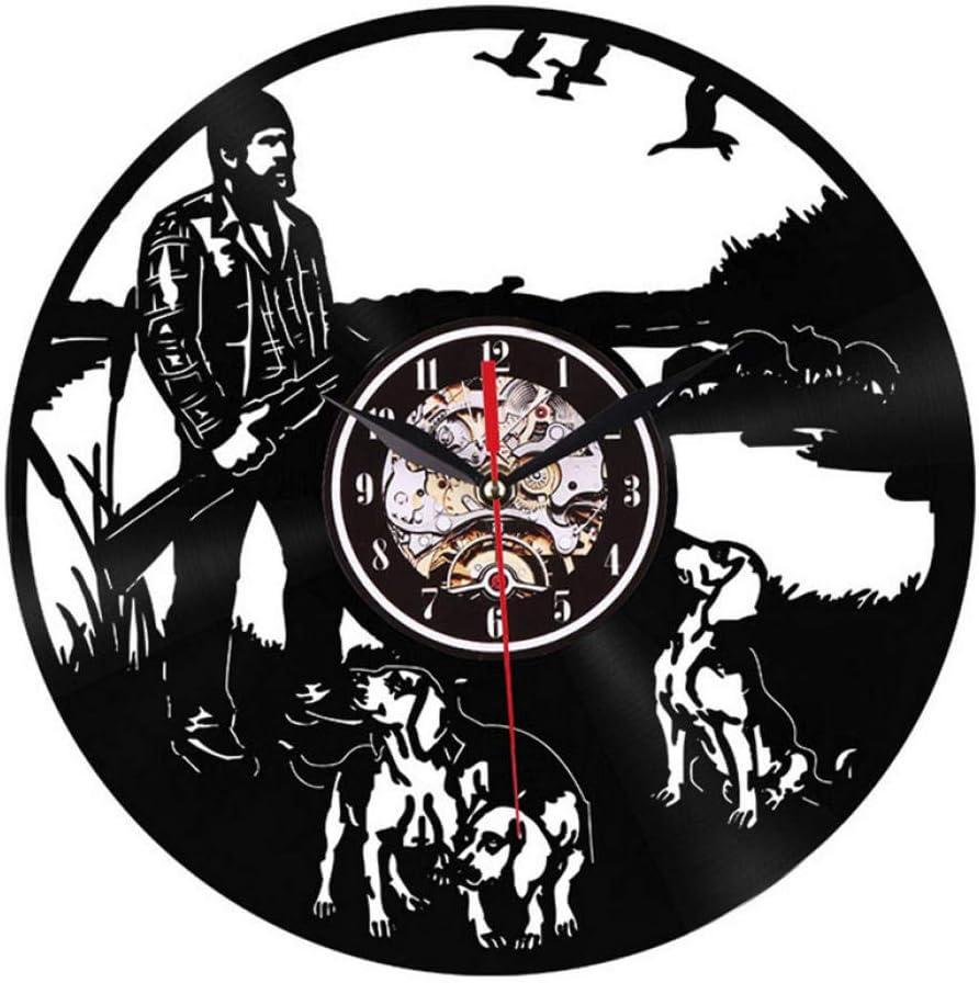 Cazador Y Modelo De Perro Reloj De Pared De Vinilo Antiguo Silencioso para Sala De Estar Reloj De Pared Diseño Moderno Ministerio del Interior con Luz Led De 12 Pulgadas