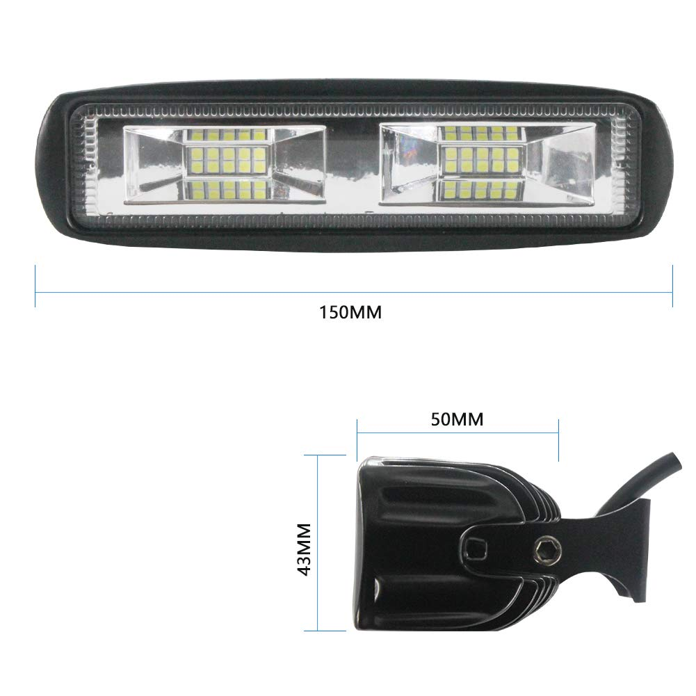 Barra de luz LED delgada LED luz de trabajo 12 V 24 V 18 W focos niebla conducci/ón luces para motocicleta E-Bike ATV camiones tractores 4 x 4 coche Van Off Road impermeable Pack de 2