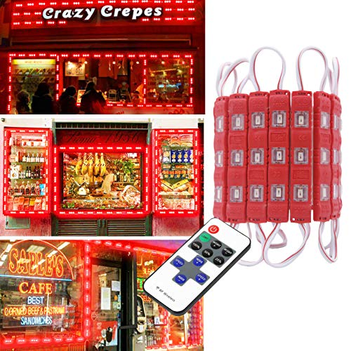 Super Bright 20FT 40pcs LED Storefront Lights Window Light Kits LED Bulb for Indoor/Outdoor Decoration Lighting Letter Sign Advertising Signs with Tape Adhesive Backside for Business (Red)