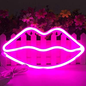 LCF Lips Shaped Neon Signs Led Romantic Art Decorative Neon Lights Wall Decor for Christmas Gift Studio Party Kids Room Living Room Wedding Party Decoration (Pink)