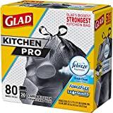 Glad Forceflex Kitchen Pro Drawstring Trash Bags, Fresh Clean, 80 Count (Packaging May Vary)