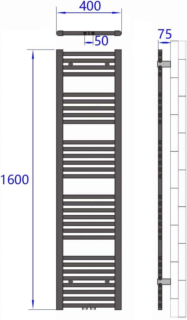 Antrazit Horizontal Rohrdurchmesser: 22mm Badheizk/örper Handtuchtrockner Heizk/örper 1200x600mm 679 Watt Leistung Bad-Heizk/örper Bad Mittelanschluss Heizung