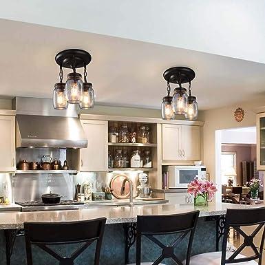 Iluminación colgante de 3 luces para la isla de la cocina, lámpara de araña industrial vintage de metal, lámpara de techo de montaje empotrado con lámpara colgante de vidrio con tarro de