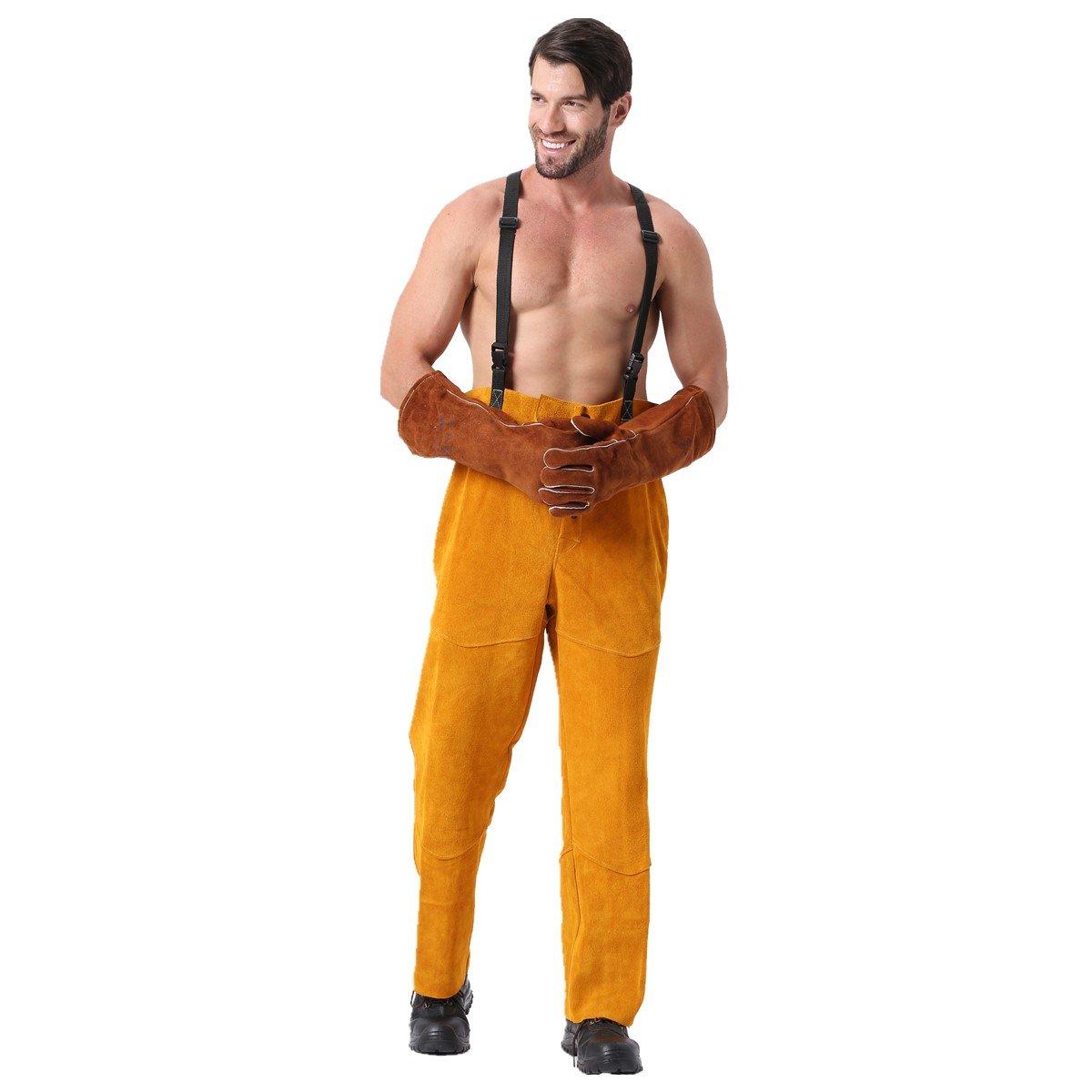 Pantalones de soldadura de cuero Calor de llamas Resistente a la abrasión Trabajador de cuero de vaca Brujas Romper Soldadura Protección Pantalones ...