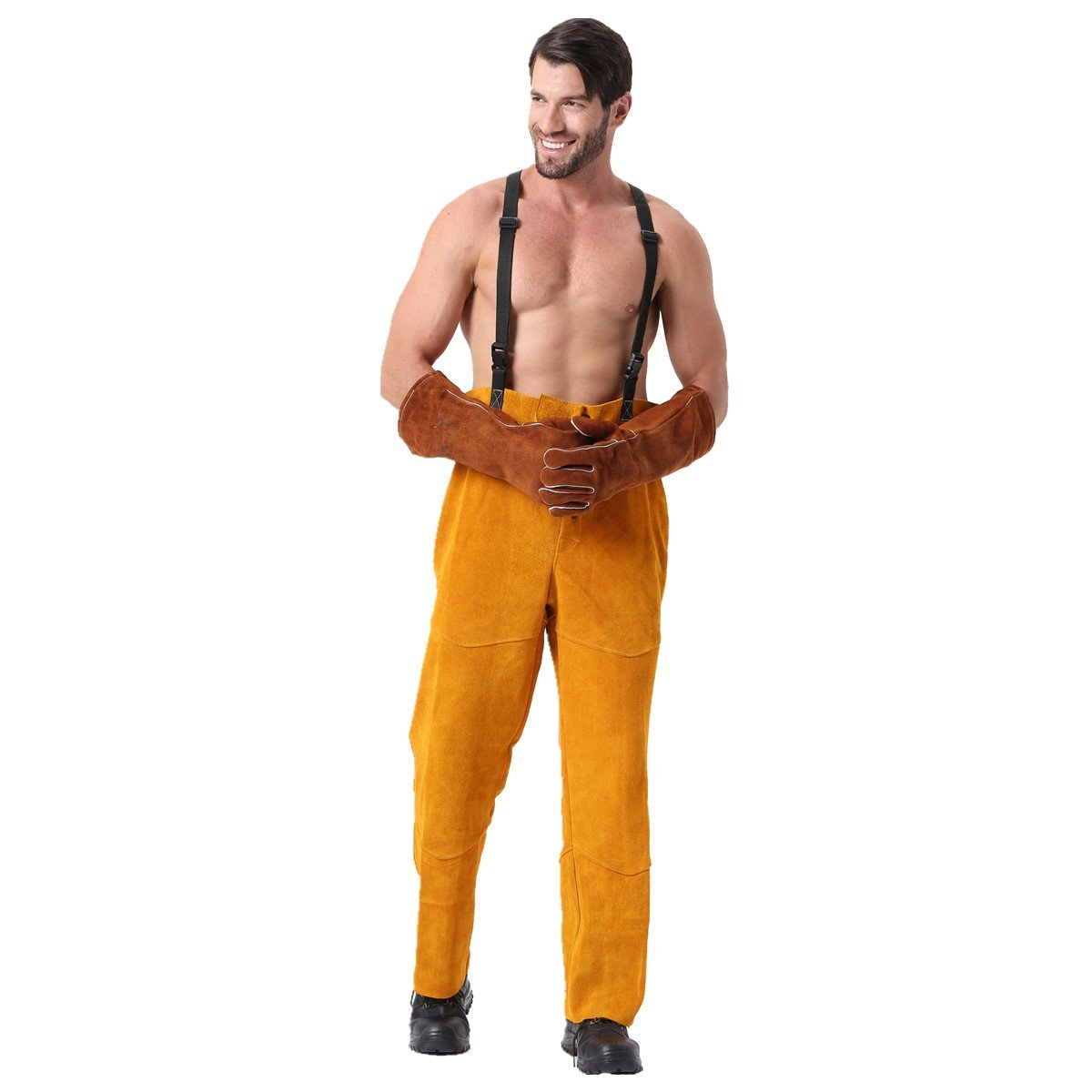 Leather Welding Pants Chaps Trousers Flame/Heat/Abrasion Resistant Cowhide Leather Worker Britches Romper for Welding Protection (XL)