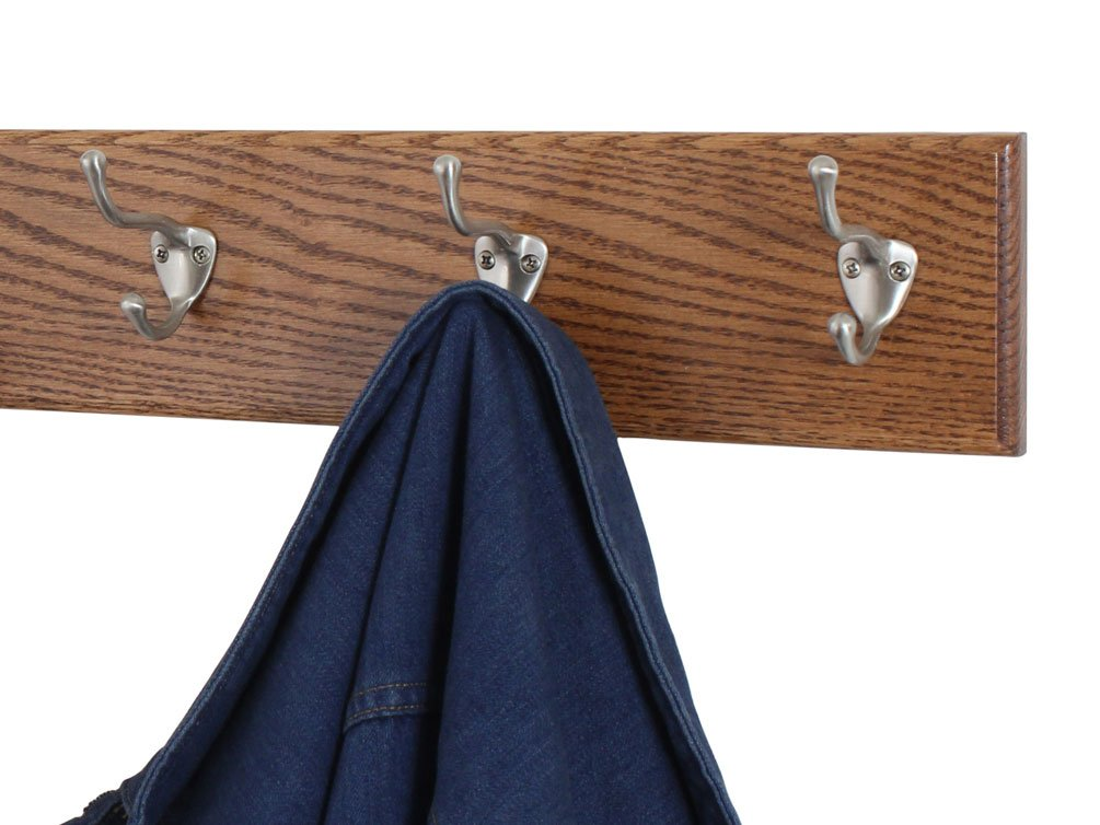 Solid Oak Wall Mounted Coat Rack with Satin Nickel Wall Coat Hooks - Made In the USA
