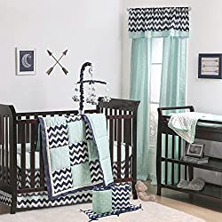 Navy Blue Chevron and Mint Arrow Boy's 5 Piece Crib Bedding Set by The Peanut Shell