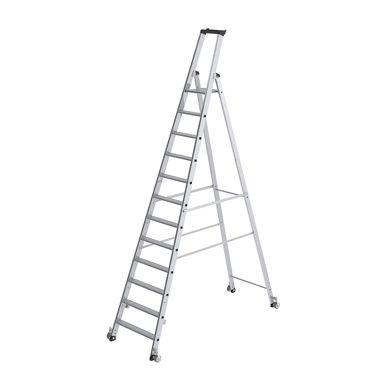 einseitig mit Rollen 1x5 Stufen Made in Germany G/ÜNZBURGER Aluminium-Stehleiter