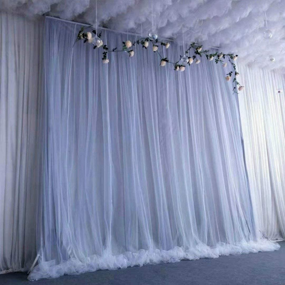 Atongham Sliver Gray Tulle Chiffon Backdrop for Bridal Shower Wedding Ceremony Backdrops Curtains Newborn Baby Shower Backdrop Photo Booth Background Photography