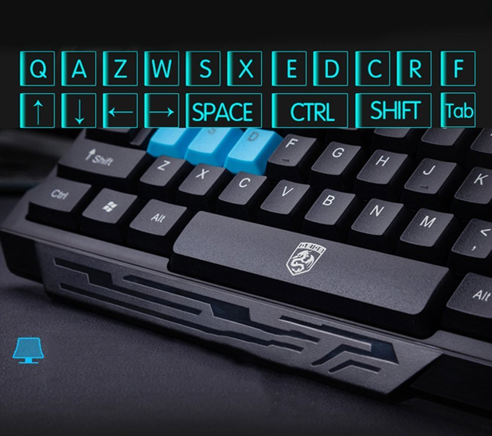 Keyboard Mouse Combos,Soke-Six Waterproof Multimedia 2.4GHz Wireless Gaming Keyboard with USB Cordless Ergonomic Mouse DPI Control For Desktop PC Laptop(Black) by Soke-Six (Image #3)