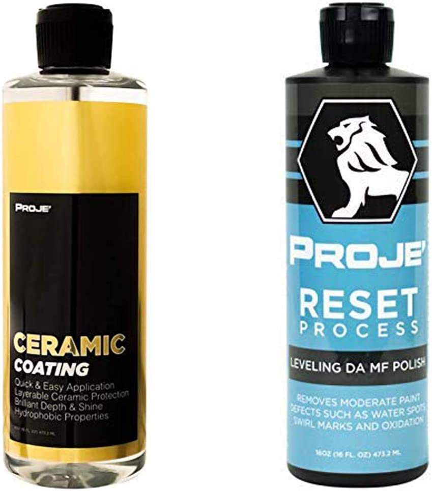 PROJE' Ceramic Coating & Defect Removal Bundle - Car Care Set with Protective Sealant & Paint Restorer & Scratch/Imperfection Remover Polish - SiO2 Clear Nano Shield Leaves with Amazing Shine & Gloss