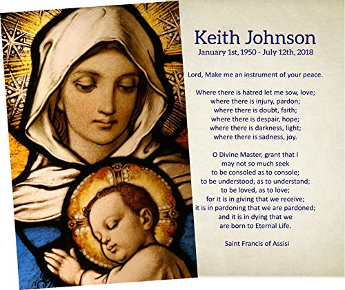 Card Personalized Prayer Child (Personalized Funeral Service Prayer Cards (Pack of 50) (Madonna & Child))