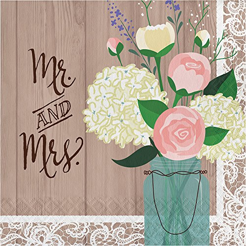 Creative Converting 192-Count Paper Lunch Napkins, Mr. and Mrs. Rustic (Rustic Wedding Napkins)