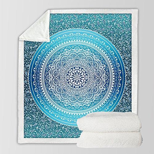 Sleepwish Sherpa Throw Blanket Turquoise Paisley Mandala Design Sherpa Fleece Blanket Super Soft Cozy Velvet Plush Throw Blanket (60x80 Inches)