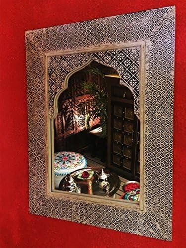 Specchio del bagno vintage orientale come decorazione Specchio da parete orientato a specchio Tasnim alto 60 cm in bianco Grande specchio sala marocchina con cornice orientale decorata in legno
